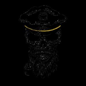 Schädel eines Kapitän mit Vollbart und Pfeife