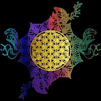 Blume des Lebens Gold Regenbogenfarben Geschenk