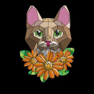 Polygon Tier - Geometrische Katze auf Blüten