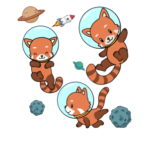 Roter Panda Astronaut Weltraum Raumfahrt Geschenk