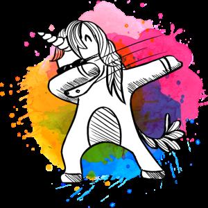 Dabbing Einhorn, Unicorn, Einhörner mit Farben