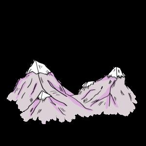 Handgezeichnete Berge mit Schnee und Sternen