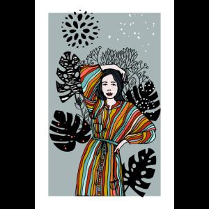Frau mit Blaettern Poster