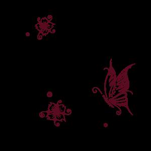 Kirschblüten mit Sxhmetterling und Tribal