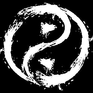 Yin Yang Kreise Symbol Bürste Weiss