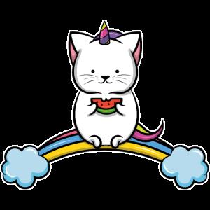 Rainbow Katze Einhorn Wassermelone Katzen Mama