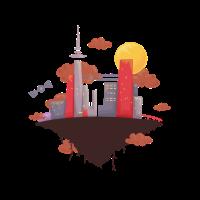 Stadt der Technologie Schwebende Stadt