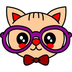 Cute Blushing Cat with Glasses - Schlaue Katze