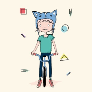 Girl with a cat hat on a bike - 90's