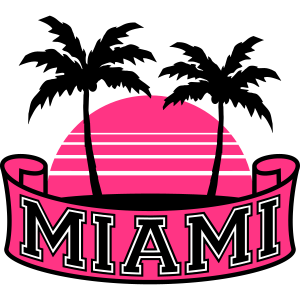 Miami Florida Palm Banner Logo