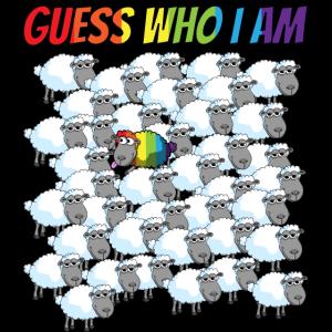 Guess who I am - Regenbogen Schaf in der Herde