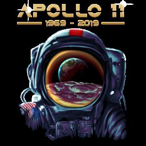 Apollo 11-Astronaut mit Erdreflexionsmond