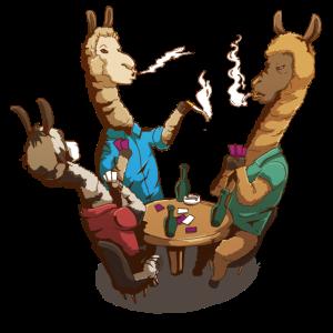 Alpaka Bar Tisch Kartenspielen Rauchen Männerabend