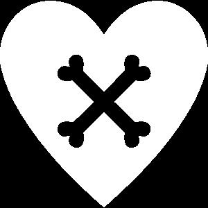 Herz mit Knochen Kreuz