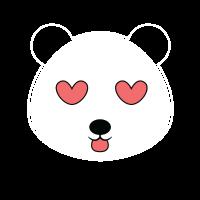 Panda mit Herzaugen