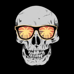 Totenkopf mit Urlaubs Palmen Sonnenbrille