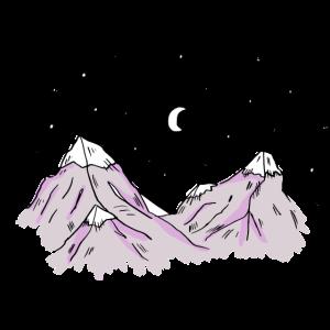 Berge mit Schneespitze und Sternen, Alpen