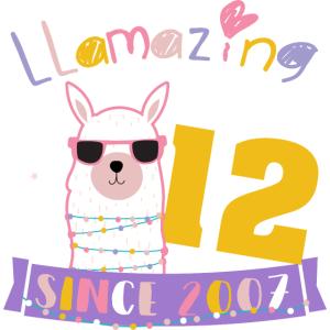 Girls 12th Birthday LLamazing Since 2007