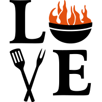Grill mit Feuer + Grillzange. Grillen Grillmeister