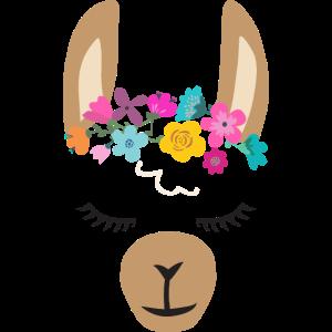 Süßes Lama Alpaca Gesicht mit Blumen