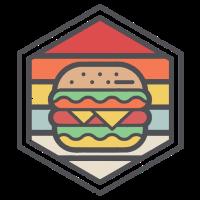 Retro Abzeichen Burger Light