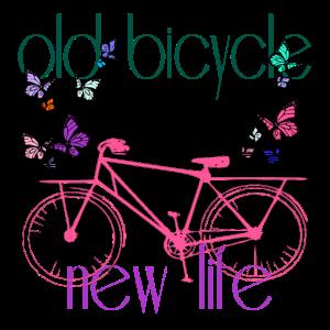 Mehrfarbiges Fahrrad und Schmetterlinge