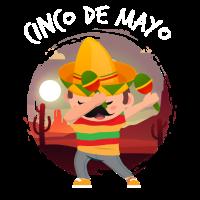 Tupfender Mexikaner im Sombrero-Poncho Cinco De Mayo