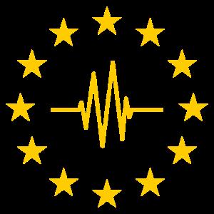 EU Sterne mit Pulslinie - Herz Europäische Union
