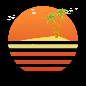 Sonnenuntergang Insel Palmen Sommer Geschenk