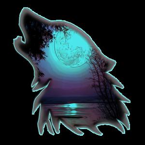 Wolf mit Mond | Yolo-Artwork