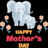 Happy Mother's Day - mit Elephantenmutter und Kind