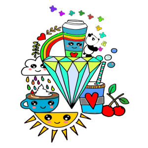 kawaii kaffe Rainbow Manga comic Cute shirt