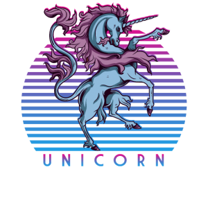 Retro 80er Neon Magical Unicorn Retrowave Geschenk