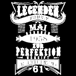 61 GEBURTSTAG JAHRGANG 1958 MAI VINTAGE T-SHIRT