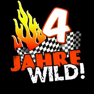 4. Geburtstag T-Shirt für Sohn Kind Rennauto Wild