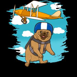 Lustiger Skidiving Pug Dog Skydive Lover Gift Design