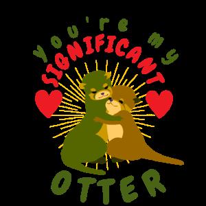 Romantischer Otter-Händchenhalten-Tierzeichnungs-Otter