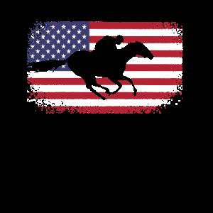 Rennpferd USA Reiter Geschenk Pferde Flagge Rennen