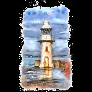 leuchtturm mit gemaltem Hintergrund