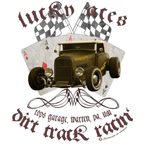 lucky aces dirt track racing hot rod retro
