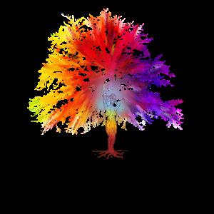 Fantasy Baum Frau Farbverlauf Chakra Wald Frieden