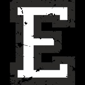Buchstabe E (Used Look) Schwarz/Weiß