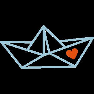 Papierboot mit Herz