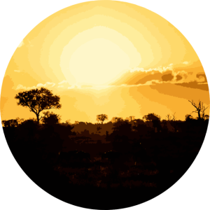 Oranger Sonnenuntergang in Afrika