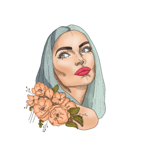 Portrait einer schönen Frau mit Blumen