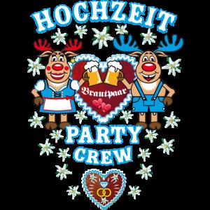 12 Bayern Hochzeit Hirsche Party Crew Brautpaar