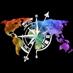 Weltkarte Kompass white