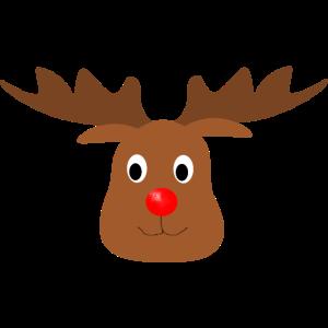 Rentier Kopf mit roter Nase