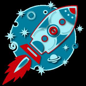 Retro Rakete Planet Weltraum Raumfahrt Sci-fi