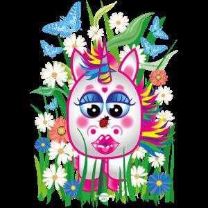 19 Blumen süßes Baby Einhorn Kussmund Marienkäfer